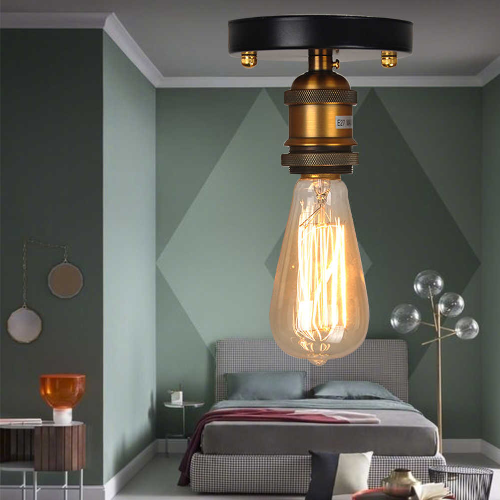 E27 кафе спальня ретро Лофт гостиная украшение для коридора гостиницы Медная головка полузаподлицо потолочный светильник Промышленный прочный