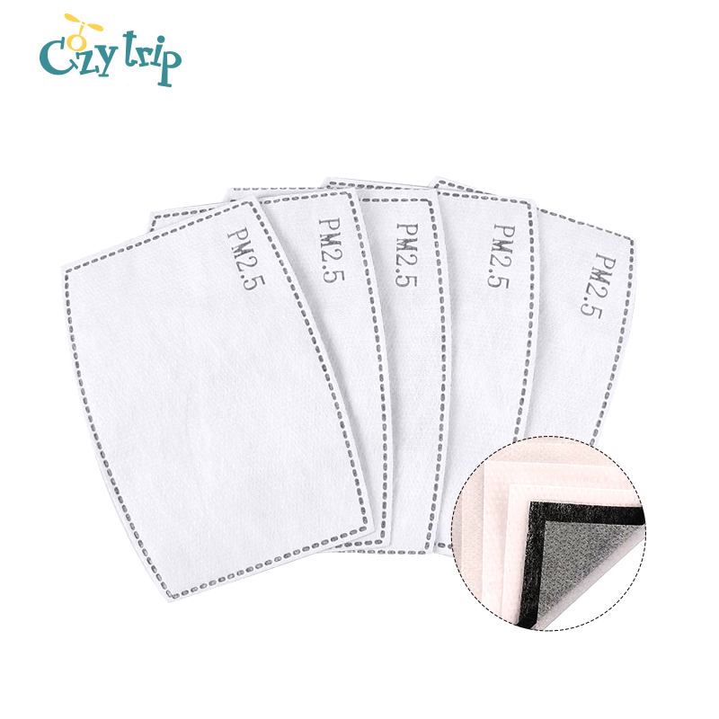 10 PCS 295% Mask Filters PM2.5 Activated Carbon Filter Reusable Anti Haze Face Mask Anti-Dust Protective Face Mouth Mask Filter