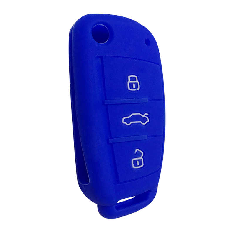 Car Key Case Shell Fob For Audi A3 Q2L Q3 S3 RS3 A4 A6 A6L A8 Q7 A5 Q5 C5 C6 B6 B7 B8 80 A2 Key Fob Case Silica Gel Remote Flip