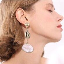 Trendy Sea Shell Long Drop Earrings For Women Fashion Statement 2019 Gold Shell Pendant Dangle Earring Wedding Party Jewelry цена