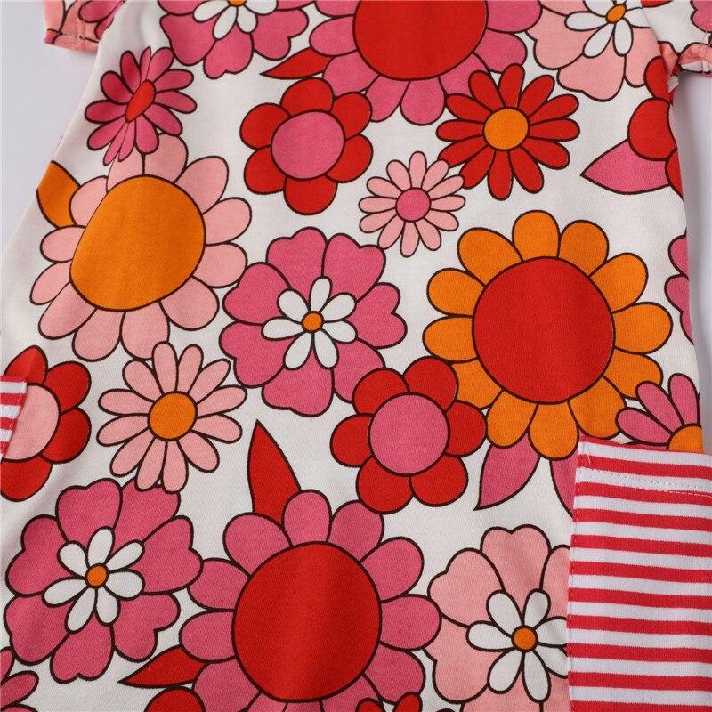 Jumping meters/Платья с цветочным принтом для маленьких девочек; новая хлопковая летняя одежда с короткими рукавами; платье трапециевидной формы ...