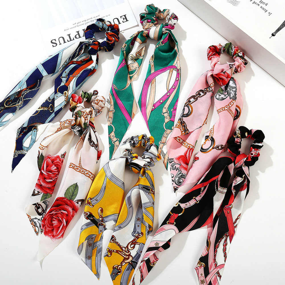 Kobiety panie długie wstążki duże jelito gumka do włosów chusteczka szaliki Bowknot Vintage kucyk Holder kolorowy metalowy łańcuszek