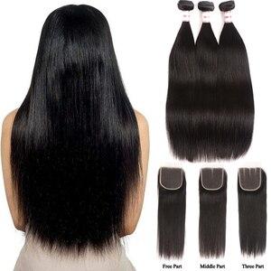 Image 1 - Fasci dritti per capelli MSH con chiusura fasci di tessuto brasiliano per capelli fasci di capelli umani con chiusura in pizzo estensione dei capelli Non Remy