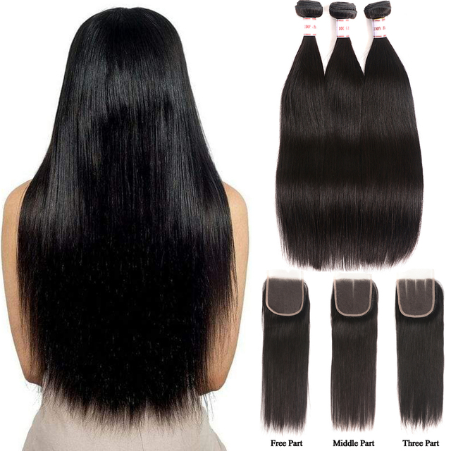 Fasci dritti per capelli MSH con chiusura fasci di tessuto brasiliano per capelli fasci di capelli umani con chiusura in pizzo estensione dei capelli Non Remy