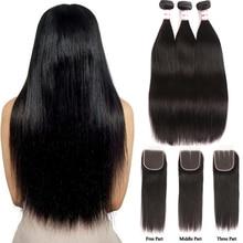 MSH włosy proste zestawy z zamknięciem brazylijskie włosy wyplata wiązki ludzkich włosów z zamknięcie koronki nierealne do przedłużania włosów