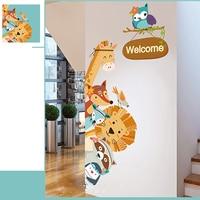 Decoração da porta adesivo de parede dos desenhos animados animais bonito do bebê quarto casa crianças removível mural decalques à prova ddiy água guarda roupa diy|Adesivos p/ porta| |  -