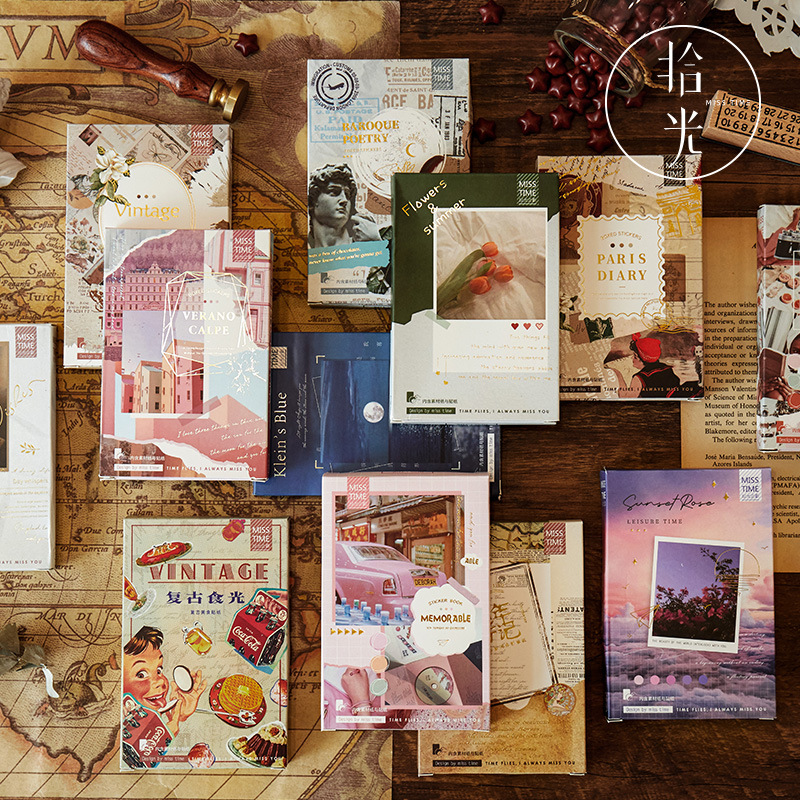 55pcs/pack Vintage Stationery Travel Diary Planner Decorative Mobile Stickers Scrapbooking Stick Lab
