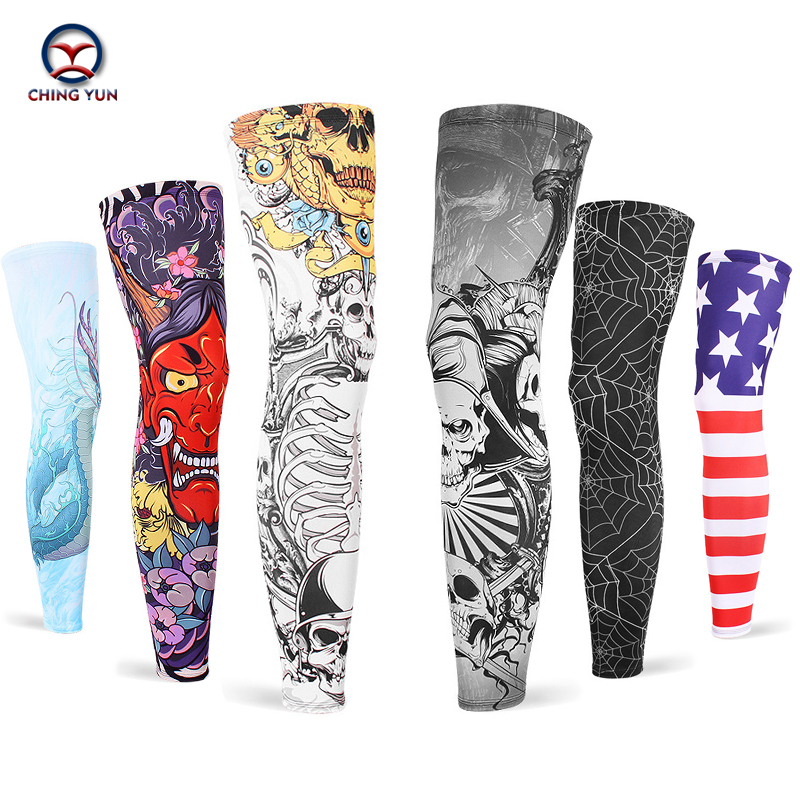 CHING YUN New Imitation Tattoo Arm Sleeve Fashion Tattoo Warmer Unisex UV Protection Outdoor Temporary Leg Sets 2-piece Set