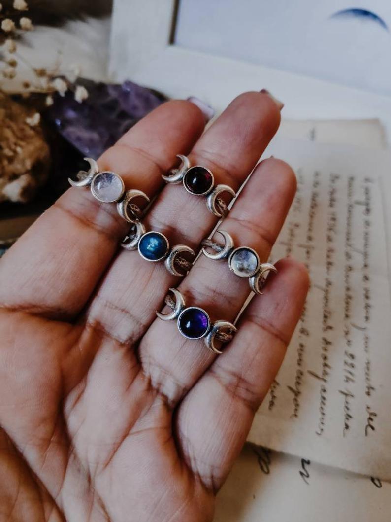 Кольцо из драгоценного камня в форме Луны, кольцо в форме Луны, кольцо в форме Луны с кристаллами, кольцо в виде тройной Луны, регулируемое ко...