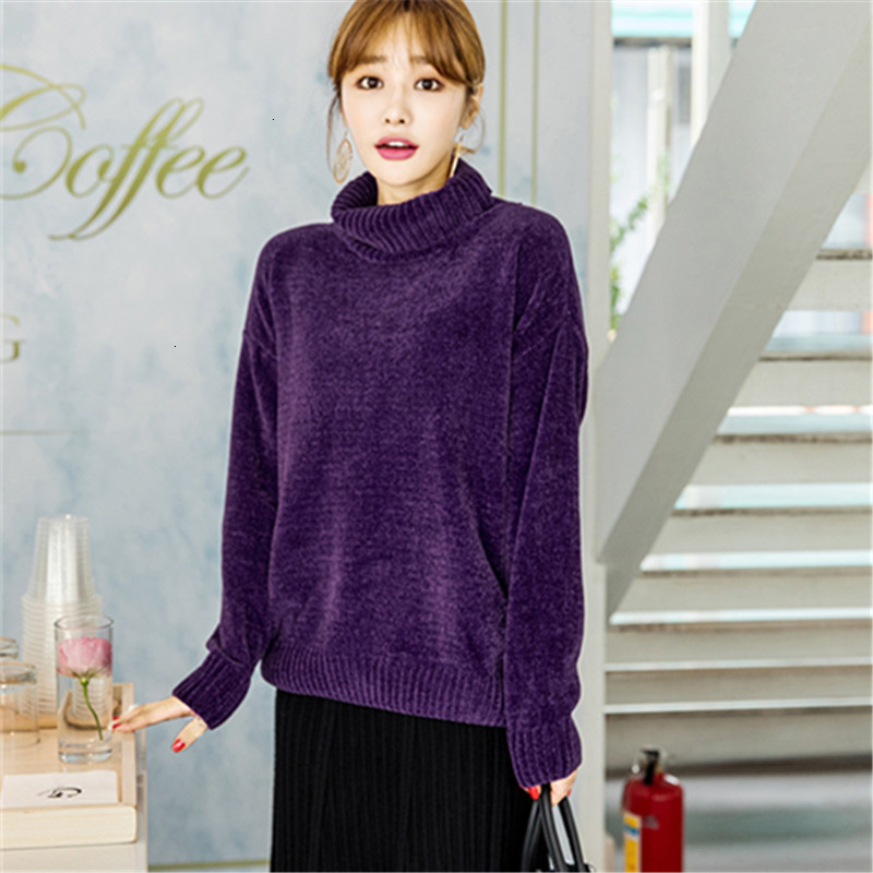 Velvet Solid Winter Jumper Loose Turtleneck Soft Knitted Sweater Pullover Long Sleeve Fashion Sueter Mujer   Women New 2019