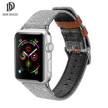 DUX DUCIS Canvas Nylon Strap for Apple Watch 38/40mm 42/44mm Genuine Leather Wrist Bracelet Band iWatch Series 1 2 3 4