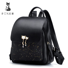 FOXER Brand Women Patchwork Zipper Large Capacity Backpack New Design Female College Bags Teenage Girls School Shoulder Bag