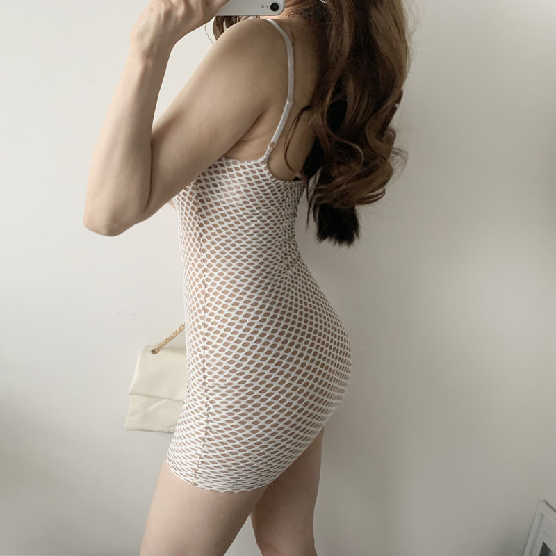 NEW Summer Spring Sexy Mesh Grid Hollow Out Patchwork Low Bust Slim Sheath Mini Dresses - dresses