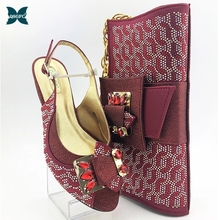 Women Shoes Matching In-Heels Wedding-In And for Royal Wine-Color Bag-Set New-Coming