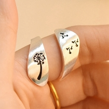 Female Plated Silver Color Hand-brushed Winding Ring Mountain Forest Dandelion Ring For