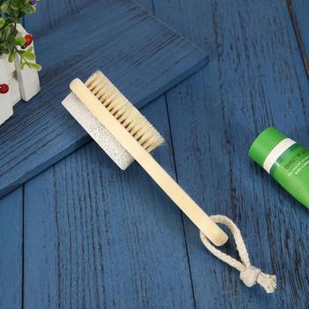 Mango de madera piedra pómez pie masaje cepillo pies Exfoliante Piel muerta removedor de cerdas Natural herramienta de limpieza