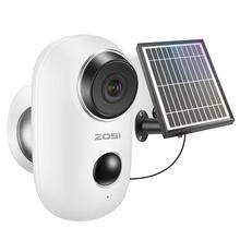 ZOSI بطارية قابلة للشحن تعمل بالطاقة IP كاميرا الطاقة الشمسية شحن 1080P HD في الهواء الطلق كاميرا لاسلكية الأمن واي فاي
