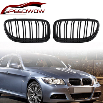 SPEEDWOW For BMW E90 2009 2010 2011 2012 Car Front Grille Gloss Matte Black Slat Kidney Grilles Car Exterior Parts 1 Pair image