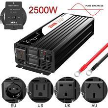 Инвертор немодулированного синусоидального сигнала, 2500 Вт, 12 В, 24 В, 48 В постоянного тока в 110 В переменного тока, 220 В, цифровой дисплей