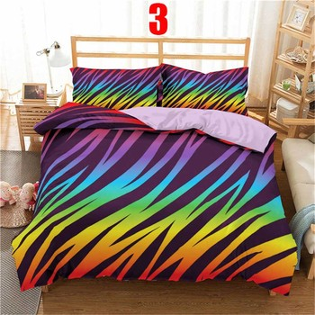 WOSTAR 3d Rainbow Stripe Printed Comforter Bedding Sets Modern Geometric Twin Queen Size Polyester Duvet Cover For home decor 8