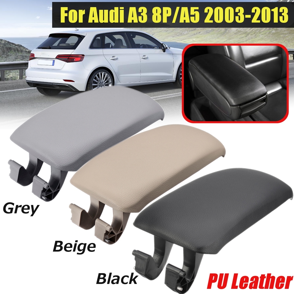 Gray Leather Armrest Center Console Arm Rest Cover For Audi A3 03-12 2008 2009