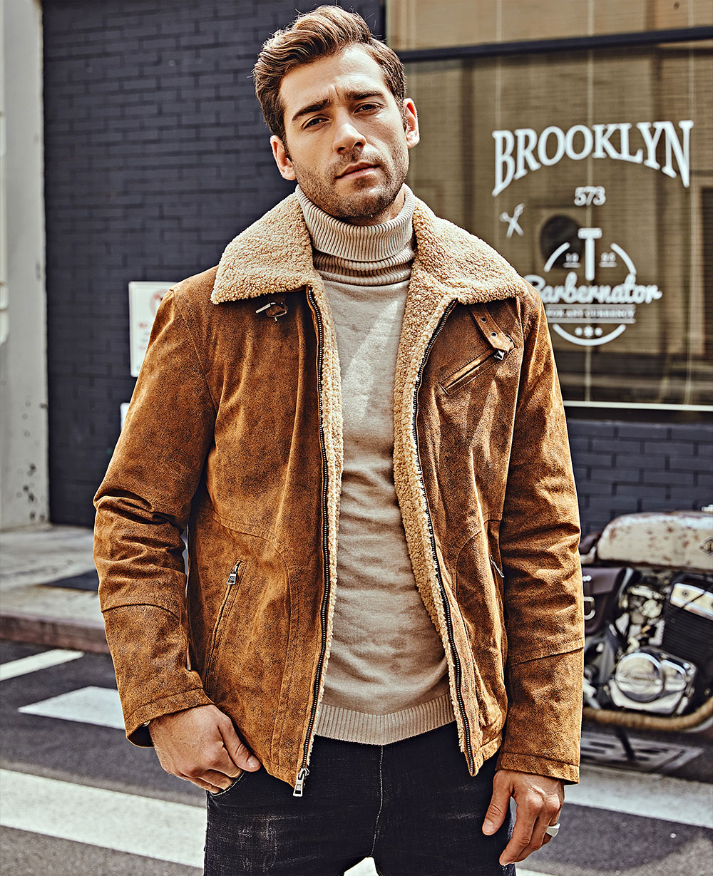 Hb0fda6d26ec340b1b20246982c077052J FLAVOR New Men's Genuine Leather Motorcycle Jacket Pigskin with Faux Shearling Real Leather Jacket Bomber Coat Men