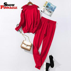 Image 5 - 2020 moda feminina camisola personaliza conjuntos primavera outono 100% algodão grosso macio longo calça conjuntos de malha casual 2 pçs ternos de pista