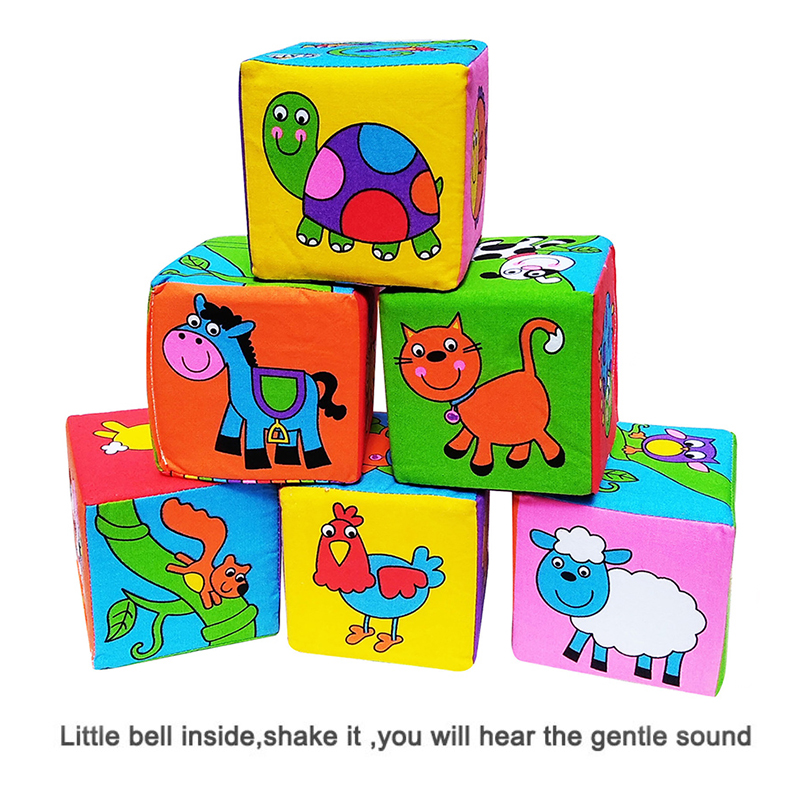 Infant Baby Rattle Building Blocks Soft Stuffed Cloth Cube Animal Block Set Baby Mobile Educational Toy Baby Toy For 0-12 Months