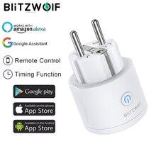 BlitzWolf 3680W 16A ab tak WIFI akıllı priz uzaktan kumanda zamanlama elektrik monitörü ile çalışmak Alexa Google asistan