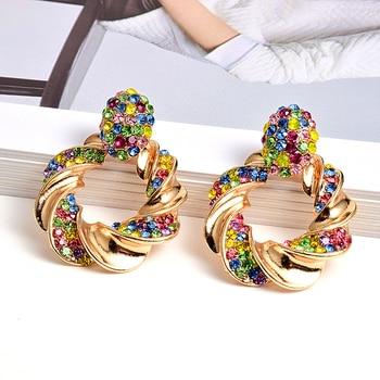 Gold Metal Rhinestone Crystal Drop Earrings  1