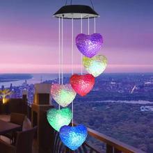 LED Solar dzwonek wietrzny s światło 6LED kolorowe Love Heart dzwonek wietrzny lampa zasilana energią słoneczną ogrodowa lampa wisząca tanie tanio CN (pochodzenie) Z tworzywa sztucznego Nowoczesne