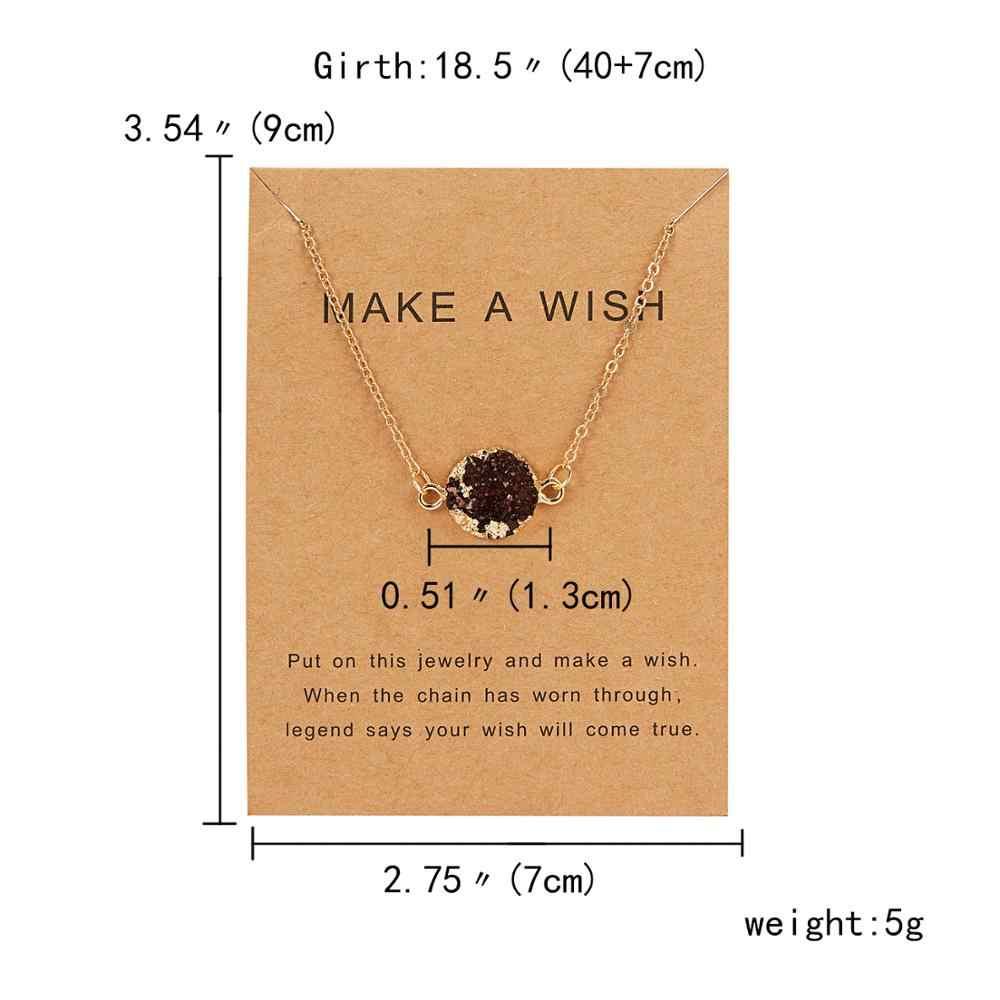 Rinhoo 1PC 7*9 ซม.MAKE A WISH กระดาษแข็งรอบเรขาคณิตรูปทรงเรซิ่นจี้สร้อยคอสำหรับหญิงชายแฟชั่นเครื่องประดับของขวัญ