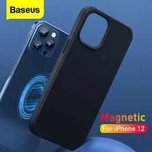 Baseus Magnetische Telefoon Case Voor Iphone 12 Pro Max Waterdichte Vloeibare Silicone Volledige Cover Voor Iphone 12 Pro Mini Mobbile telefoon Case