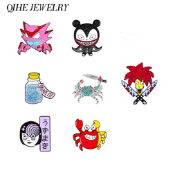 QIHE JEWELRY Cartoon enamel pins Japanese ghost girl Wishing bottle Demon Crab brooches badges Wholesale pins Gifts for friends