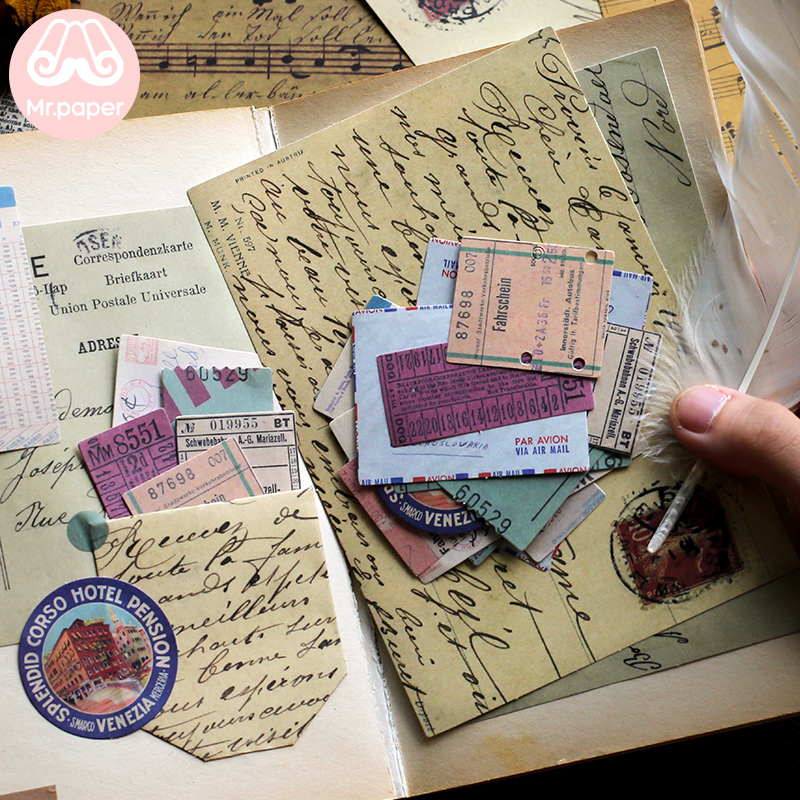 Mr.paper 40pcs/lot Vintage Flower Kraft Card Journaling Bullet DIY Scrapbooking Material Card Retro Hangtag with Hole LOMO Cards 3
