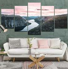 5 шт Картина на холсте пейзаж горы реки закат настенная живопись