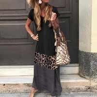 Vintage Leopard Lange Kleid Plus Größe Lose Strand Sommer Kleid Mode Lässig Frauen Kleid Langarm & Kurz Für Wahl