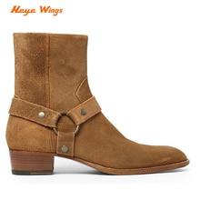 Черные и уличные ботинки ручной работы с высоким берцем; мужские ботинки «Челси» с пряжкой и кольцом; кожаные джинсовые ботинки на танкетке для банкета