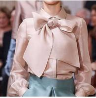 Vintage Glossy Elegant Bow Tie Women Shirt Leisure Office Ladies Solid Long Sleeve Pink Shirts Casual Blouses Tops Blusas