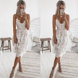 Новое поступление, сексуальное коктейльное платье без рукавов с v-образным вырезом, платье длиной до колена, кружевное вечернее платье для с...