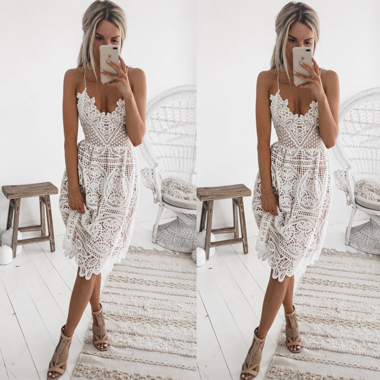 New Arrival Sexy V Neck Sleeveless Criss Cross Cocktail Dress Tea Length Dress Lace Party Dress For Marriage Vestido De Novia