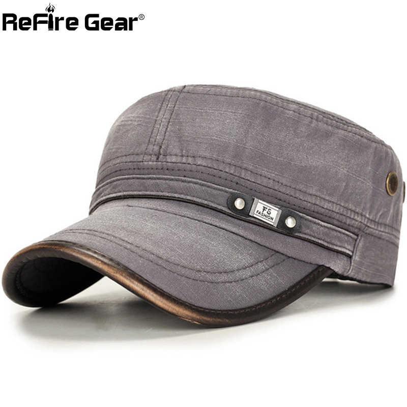 ReFire Gear ajustable sombrero militar para hombre Casual moda lavado plano táctico sombreros cadete ejército Cap Vintage algodón UV prueba de sol sombreros