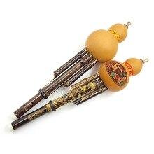 цена на Chinese Traditional Hulusi Flutes Handmade Black Bamboo Gourd Cucurbit Flute People Musical Instrument Key C for Beginners Music