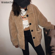 все цены на WannaThis Winter Teddy Coats Women Faux Fur Coats Button Teddy Bear Jacket Thick Warm Fake Fleece Jacket Fluffy Jackets Overcoat онлайн