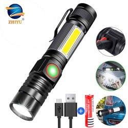 ZHIYU-lampe torche magnétique COB, 4 Modes de fonctionnement, avec fonction zoom, LED Flash, lampe torche étanche, Rechargeable par USB, 18650