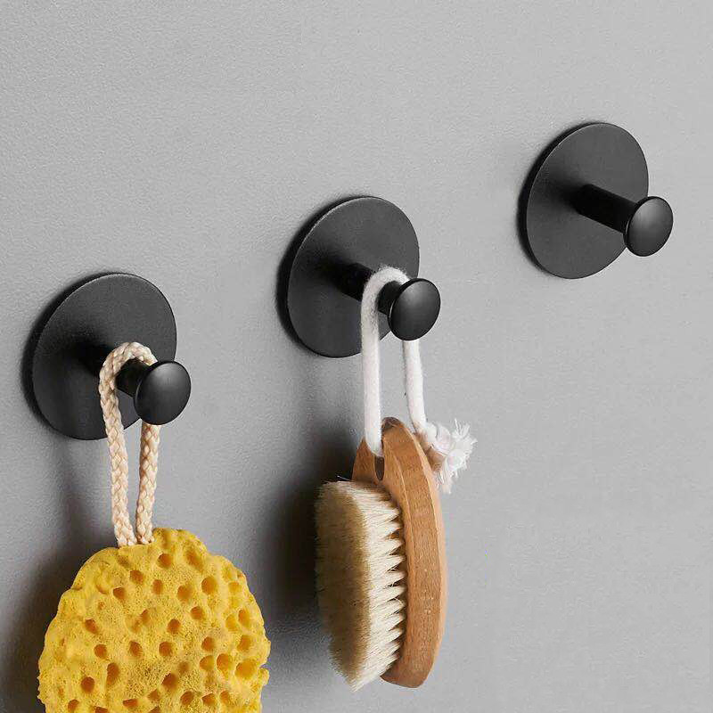 Robe Hook Adhesive Space Aluminum Towel Hooks Family Robe Hanging Hooks Hats Bag Key Wall Hanger Black Bathroom Door Back Hooks