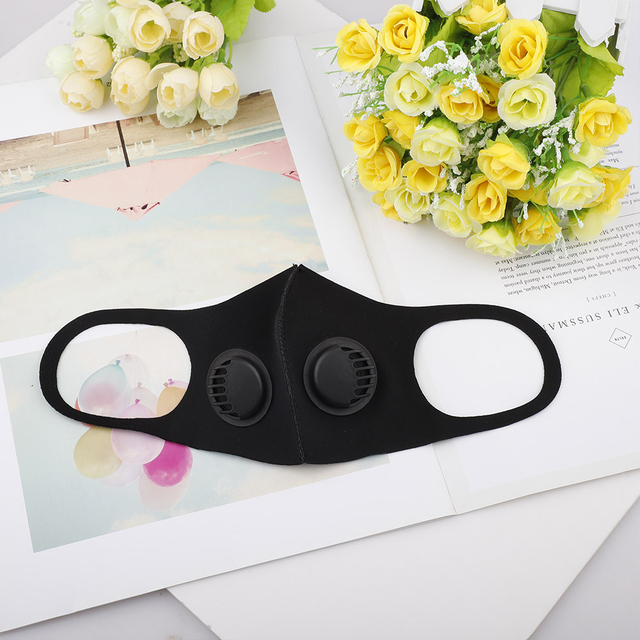 1 pc Breathable Air Purifying Face Mask Washable Black Health Mask with pads for Outdoor Running Cycling Reusable Anti-dust Mask 3