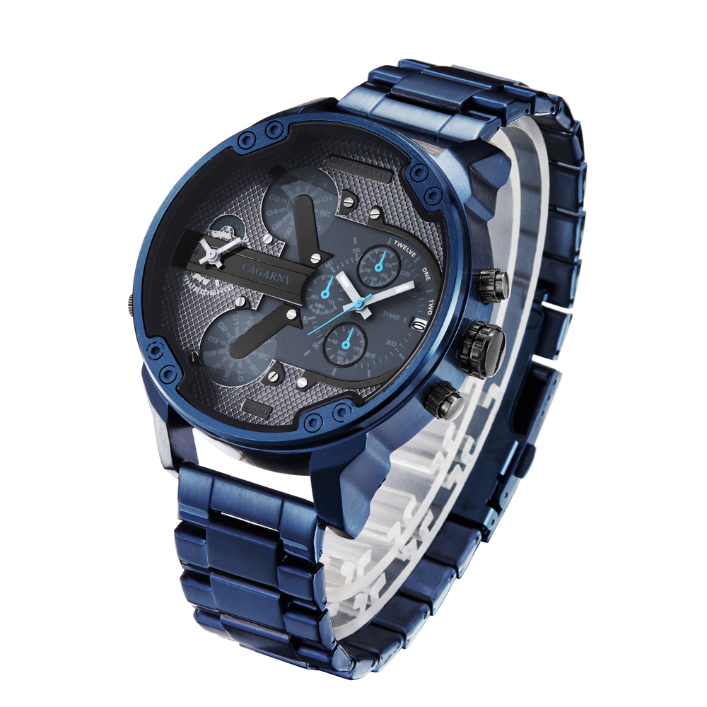 drop shipping cool big case quartz watch for men casual mens wrist watches dual time zones auto date army military Relogio Masculino blue stianless steel band 2019 new dz design (7)