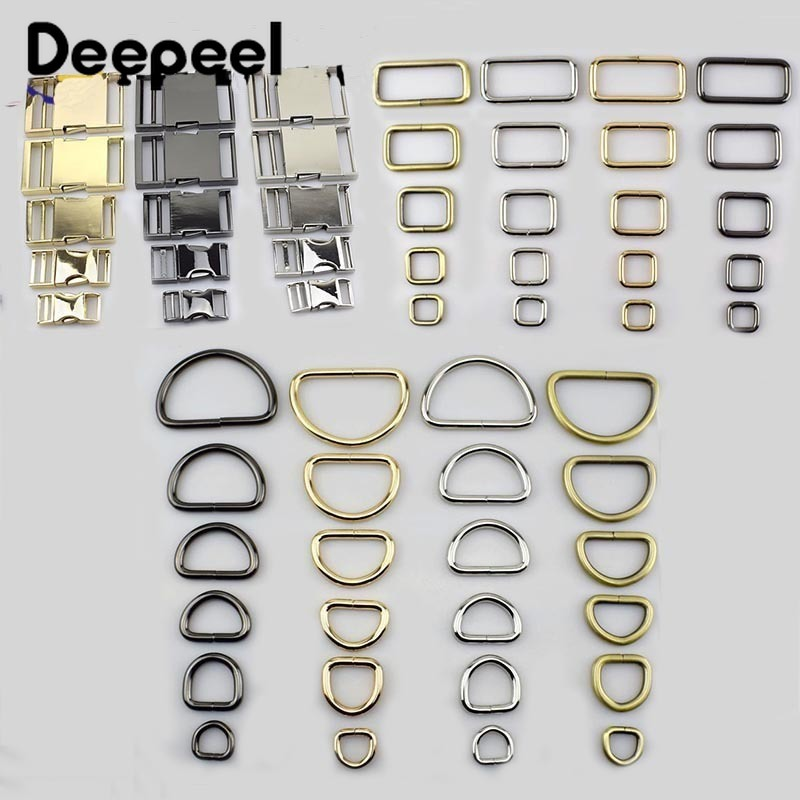 Deepeel 15-38mm Metal O D Ring Pin Buckles Clasp Web Belt Backpack Bags Purse Shoes Garment Collar Sewing DIY Leather Craft
