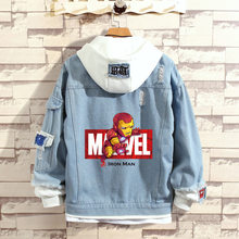 Avengers Endgame Quantum Realm Marvel superhero kapitan ameryka dżinsy JacketCosplay N7 kostiumy Spiderman Casual Denim bluzy(China)